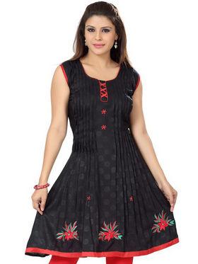 Ishin Poly Cotton Printed Kurti - Black_ADNK-331