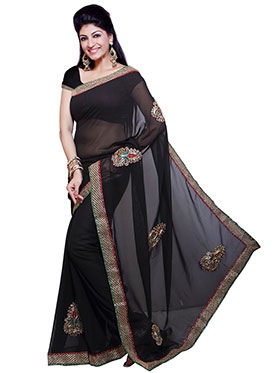 Ishin Embroidered Georgette Saree   Black available at Naaptol for Rs.499
