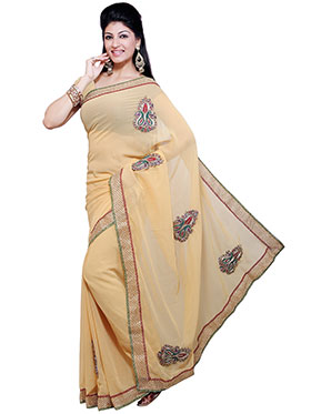 Ishin Embroidered Georgette Saree   Beige available at Naaptol for Rs.499