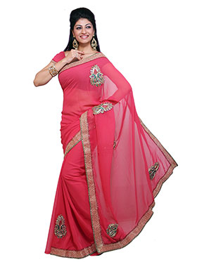 Ishin Embroidered Georgette Saree   Deep Pink available at Naaptol for Rs.499