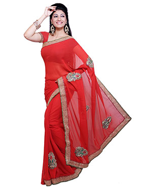 Ishin Embroidered Georgette Saree   Red available at Naaptol for Rs.599