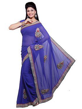 Ishin Embroidered Georgette Saree   Blue available at Naaptol for Rs.499