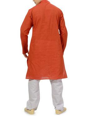 Ishin Cotton Plain Kurta Pajama For Men_indsh-102 - Orange