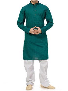 Ishin Cotton Plain Kurta Pajama For Men_indsh-104 - Green