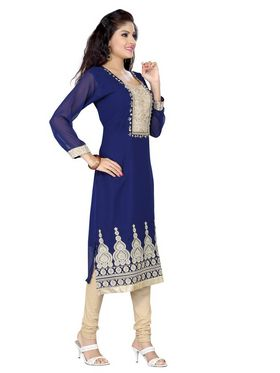 Ishin  Georgette Embroidered Kurti - Blue_INDSL-SHIKHA