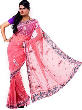 Ishin Georgette Embroidered Saree - Pink - ISHIN-2378