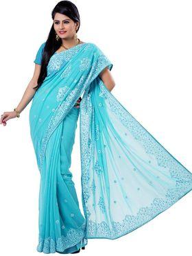 Ishin Georgette Embroidered Saree - Blue - ISHIN-2380