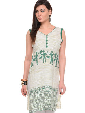 Lavennder Khadi Printed Kurti - Cream - LK-62141