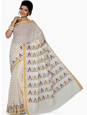 Ishin Cotton Printed Saree - White - SNGM-1875