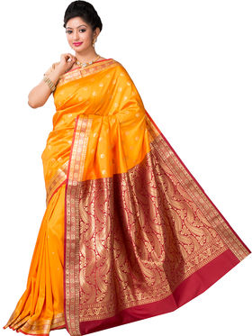 Ishin Cotton Printed Saree - Yellow - SNGM-2439
