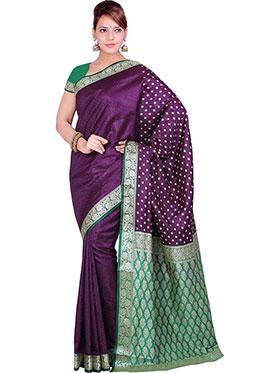 Ishin Embroidered Poly Silk Saree - Purple & Green-SNGM-1147