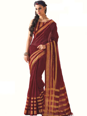 Nanda Silk Mills Plain Cotton Magenta Saree -Ivy