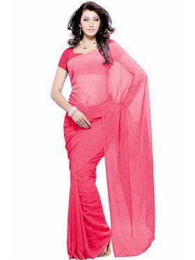 Khushali Fashion Georgette Plain Saree(Pink)_JAZZ522
