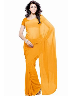 Khushali Fashion Georgette Plain Saree(Orange)_JAZZ540