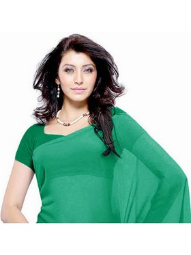 Khushali Fashion Georgette Plain Saree(Green)_JAZZ545