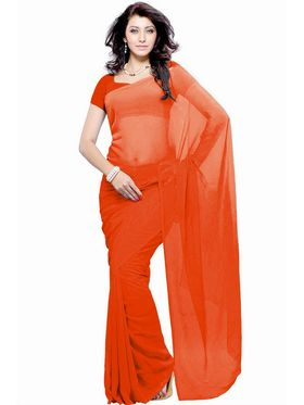 Khushali Fashion Georgette Plain Saree(Orange)_JAZZ552