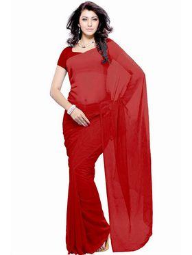 Khushali Fashion Georgette Plain Saree(Red)_JAZZ561