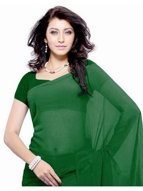 Khushali Fashion Georgette Plain Saree(Green)_JAZZ563