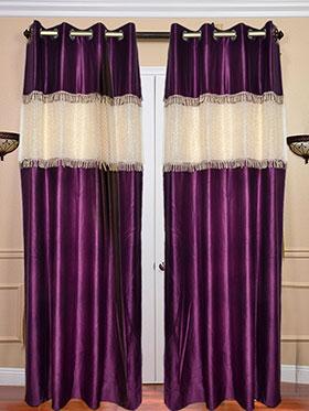 Set of 2 JBG Beautiful Tissue lace Design Door Curtains - Purple & White- JBG373