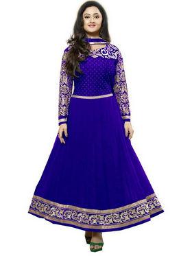 Javuli Georgette Embroidered  Dress Material - Blue - kavya-darkblue