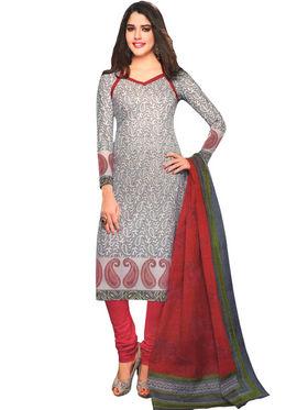 Javuli 100% pure Cotton Printed  Dress material - Grey - shree-new209