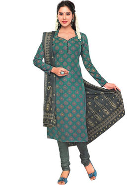 Javuli 100% pure Cotton Printed  Dress material - Green - shree-new210