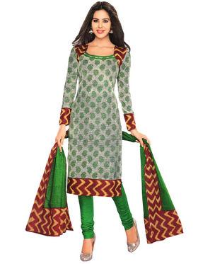 Javuli 100% pure Cotton Printed  Dress material - Green - shree-new217