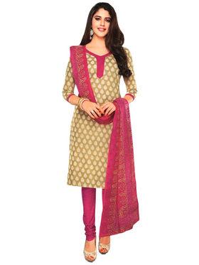Javuli 100% pure Cotton Printed  Dress material - Beige - shree-new223