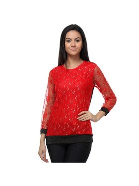 Kaxiaa Nylon Mesh Jacquard Top -K-TO-21166A