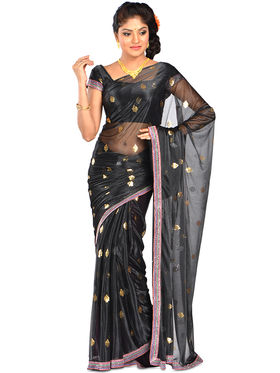 Combo of 5  Arisha Solid Foil Saree- Foil