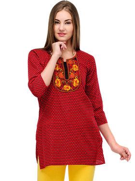 Arisha Cotton Printed Kurti KRT6023_Rd