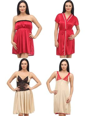 Set of 4 Klamotten Satin Solid Nightwear - X04-06-14-N64