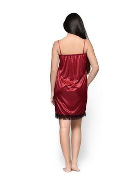 Klamotten Satin Solid Nightwear - Maroon - YY151
