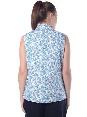 Lavennder Sky Blue Crepe Floral Print Sleeveless  Women Nehru  Jacket - LJ-24035