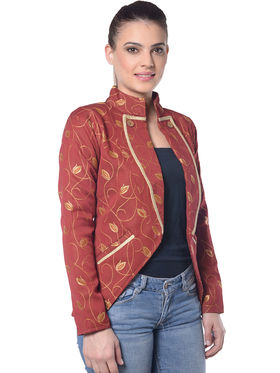 Lavennder Maroon Woven Full Sleeve Women Jacket - LJ-24036