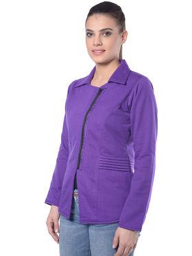 Lavennder Purple Solid Fleece Full Sleeve  Women Jacket - LJ-24059