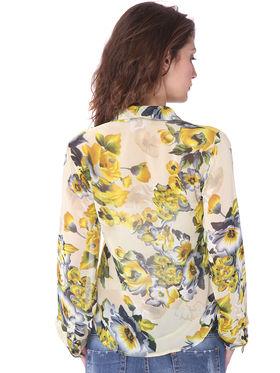 Combo of 5 Lavennder Georgette Cotton & Solid Printed Ladies Shirts-la06