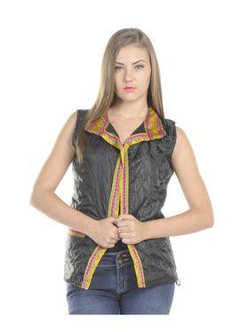Lavennder Silk Quilt Plain Jacket - Black - LW-3857