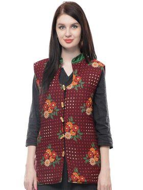 Lavennder Cotton Quilt Printed Jacket - Maroon - LW-4159