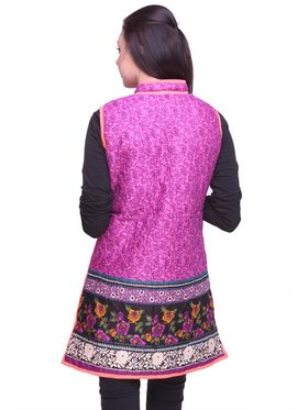 Lavennder Cotton Quilt Reversible Jacket - Purple and Neon Pink