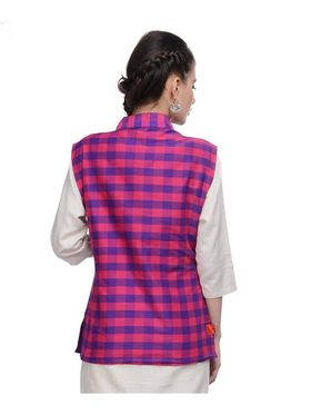 Lavennder Khadi-Cotton Nehru Jacket - Purple and Pink - 623406