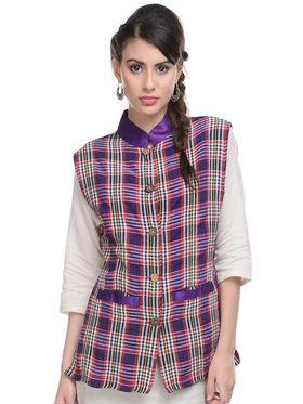 Lavennder Khadi-Cotton Check Print Nehru Jacket - Purple and Pink
