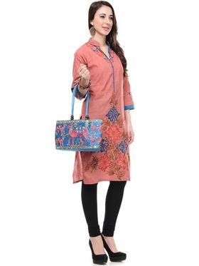 Lavennder Cotton and Dupion Silk Printed Kurti with Hand Bag - LK-62016