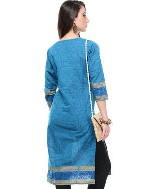 Lavennder Cotton and Dupion Silk Printed Kurti with Sling Bag - LK-62022
