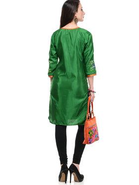 Lavennder Shantoon and Dupion Silk Printed Kurti with Hand Bag - LK-62027