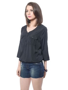 Meira Poly Crepe Solid-Top - Black - MEWT-1042-K