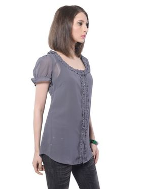 Meira Poly Georgette Solid-Top - Grey - MEWT-1043-D