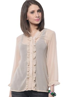 Meira Poly Georgette Solid-Top - Beige - MEWT-1068-H