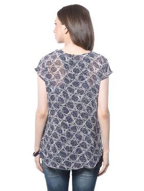 Meira Poly Georgette Printed-Top - Black - MEWT-1163-A
