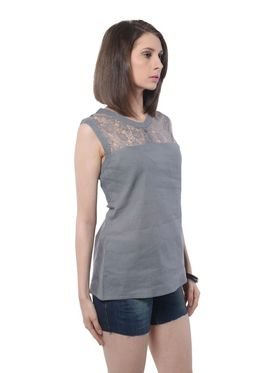 Meira Cotton Solid Top - Grey - MEWT-1165-A